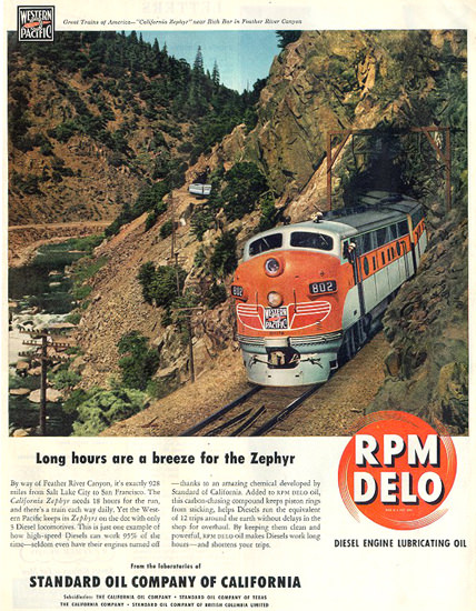 Standard Oil Zephyr Western Pacific 1949 | Vintage Ad and Cover Art 1891-1970