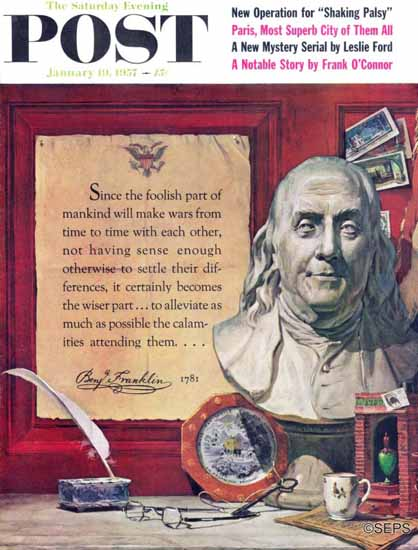 Stanley Meltzoff Saturday Evening Post Benjamin Franklin 1957_01_19 | The Saturday Evening Post Graphic Art Covers 1931-1969