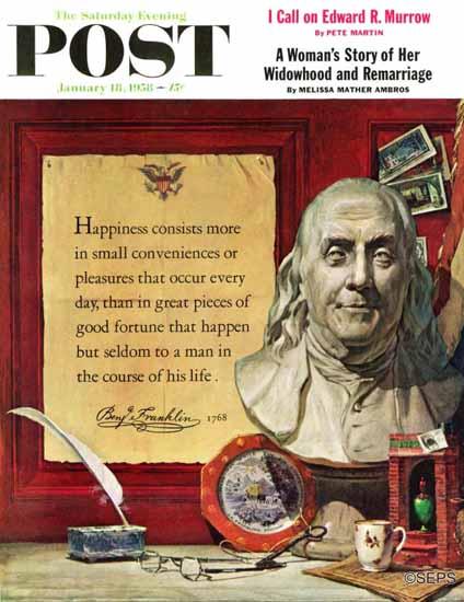 Stanley Meltzoff Saturday Evening Post Benjamin Franklin 1958_01_18 | The Saturday Evening Post Graphic Art Covers 1931-1969