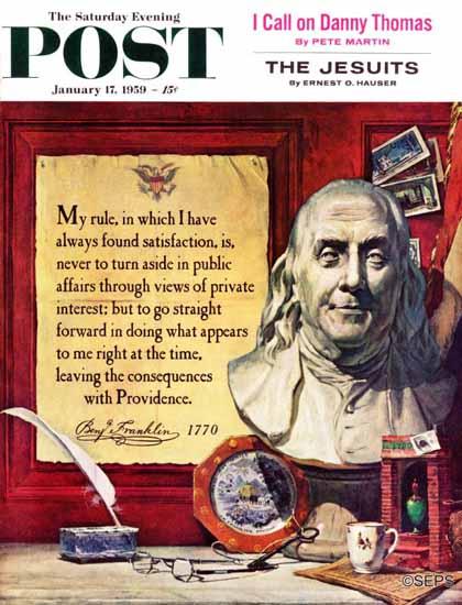 Stanley Meltzoff Saturday Evening Post Benjamin Franklin 1959_01_17 | The Saturday Evening Post Graphic Art Covers 1931-1969
