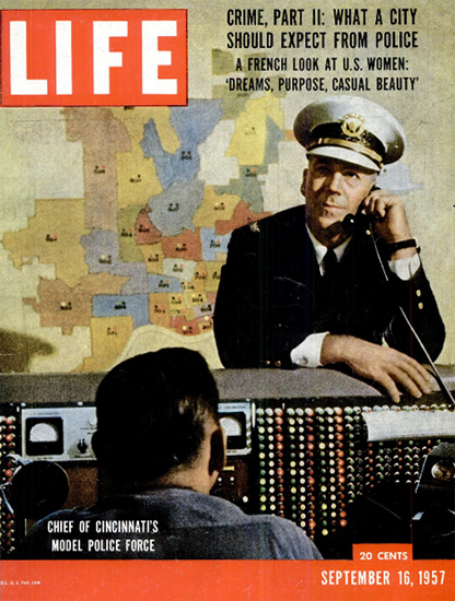 Stanley Schrotel Police Cincinnati 16 Sep 1957 Copyright Life Magazine | Life Magazine Color Photo Covers 1937-1970
