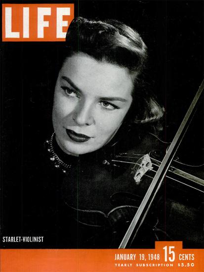Starlet-Violinist 19 Jan 1948 Copyright Life Magazine   Life Magazine BW Photo Covers 1936-1970