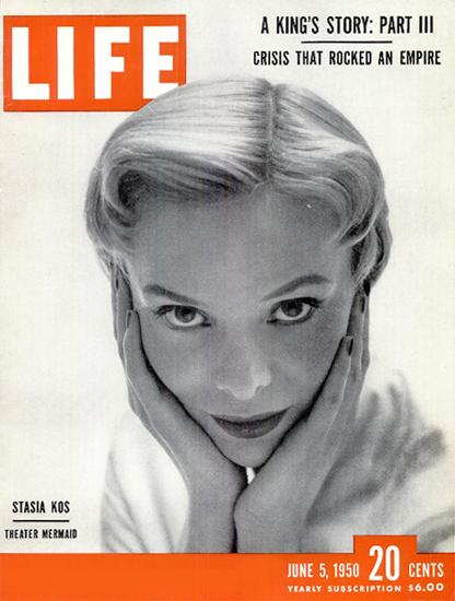 Stasia Kos Theater Mermaid 5 Jun 1950 Copyright Life Magazine | Life Magazine BW Photo Covers 1936-1970