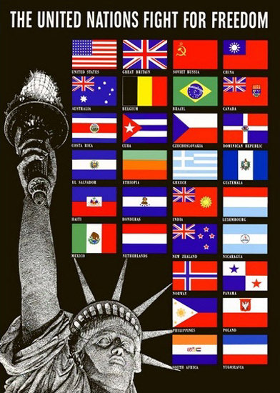 Statue Of Liberty And Flags United Nations Fight | Vintage War Propaganda Posters 1891-1970