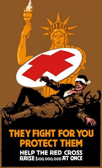 Statue Of Liberty Red Cross Shield They Fight | Vintage War Propaganda Posters 1891-1970