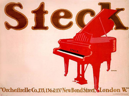 Steck Pianos London New Bond Street 1913 | Vintage Ad and Cover Art 1891-1970