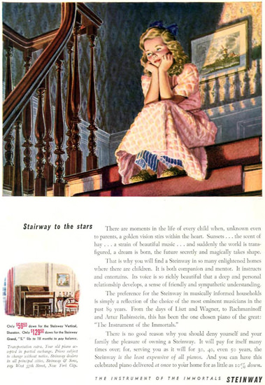 Steinway Girl Waiting On The Stairs 1942 | Vintage Ad and Cover Art 1891-1970