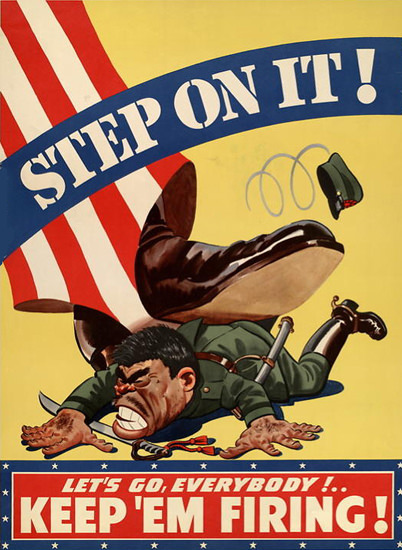 Step On It Unkle Sam Keep Em Fireing | Vintage War Propaganda Posters 1891-1970