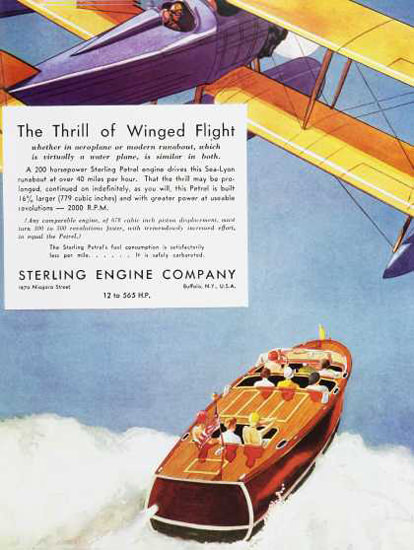 Sterling Engine Co Thrill Of Winged Flight 1930s | Vintage Ad and Cover Art 1891-1970