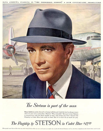 Stetson Hat Dana Andrews Cadet Flagship 1949 | Sex Appeal Vintage Ads and Covers 1891-1970