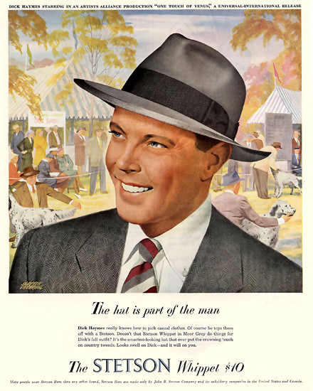 Stetson Hat Whippet Dick Haymes | Sex Appeal Vintage Ads and Covers 1891-1970