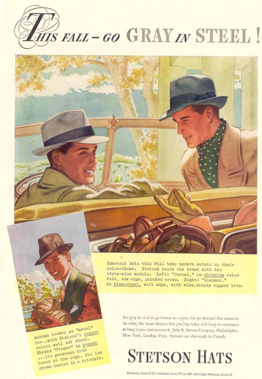 Stetson Hats Gray In Steel Fall 1937 | Sex Appeal Vintage Ads and Covers 1891-1970