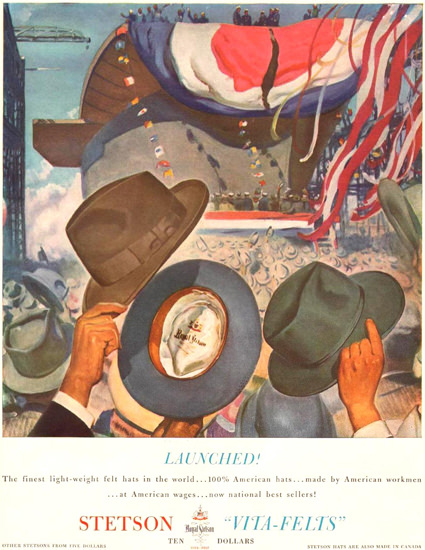 Stetson Hats Vita-Felts Ship Naming 1941 | Vintage Ad and Cover Art 1891-1970