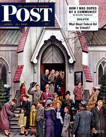 Stevan Dohanos Saturday Evening Post After Church 1949_04_16 | The Saturday Evening Post Graphic Art Covers 1931-1969