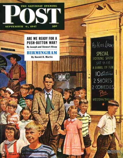 Stevan Dohanos Saturday Evening Post After the Movie 1947_09_06 | The Saturday Evening Post Graphic Art Covers 1931-1969