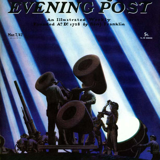 Stevan Dohanos Saturday Evening Post AntiAir 1942_03_07 Copyright crop | Best of Vintage Cover Art 1900-1970
