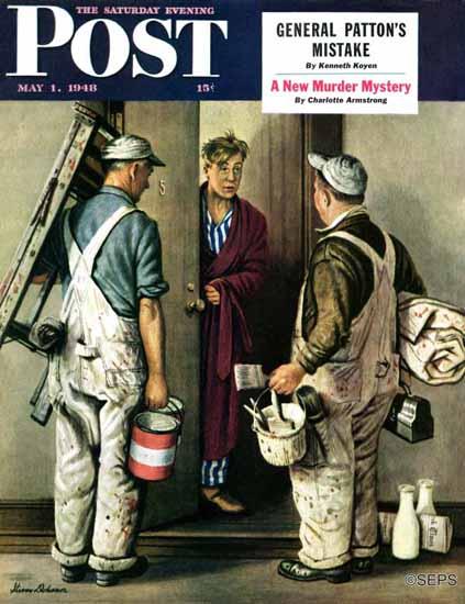 Stevan Dohanos Saturday Evening Post Apartment Painters 1948_05_01 | The Saturday Evening Post Graphic Art Covers 1931-1969