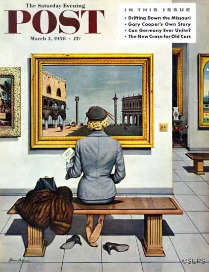 Stevan Dohanos Saturday Evening Post Art Lover 1956_03_03   The Saturday Evening Post Graphic Art Covers 1931-1969