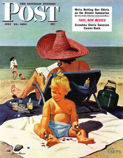 Stevan Dohanos Saturday Evening Post Baby Nail Polish 1950_07_22 | The Saturday Evening Post Graphic Art Covers 1931-1969
