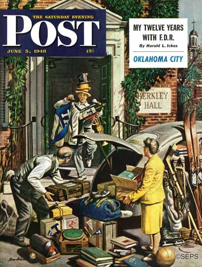 Stevan Dohanos Saturday Evening Post Back From College 1948_06_05   The Saturday Evening Post Graphic Art Covers 1931-1969