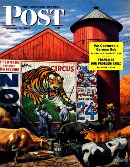 Stevan Dohanos Saturday Evening Post Barnside Circus Poster 1945_08_04 | The Saturday Evening Post Graphic Art Covers 1931-1969