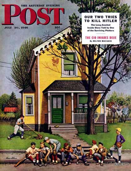 Stevan Dohanos Saturday Evening Post Baseball Mowing 1946_07_20   The Saturday Evening Post Graphic Art Covers 1931-1969