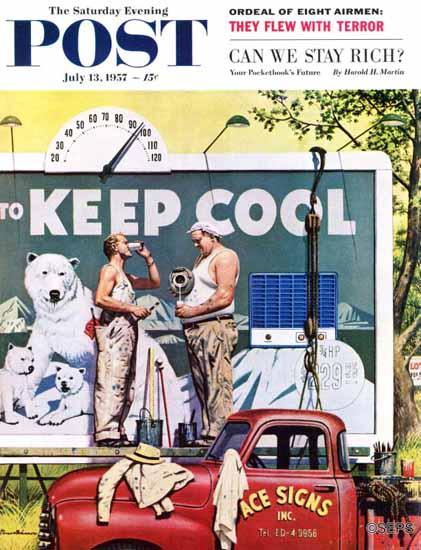 Stevan Dohanos Saturday Evening Post Billboard Painters 1957_07_13 | The Saturday Evening Post Graphic Art Covers 1931-1969