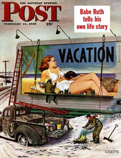 Stevan Dohanos Saturday Evening Post Billboard Vacation 1948_02_14 | The Saturday Evening Post Graphic Art Covers 1931-1969