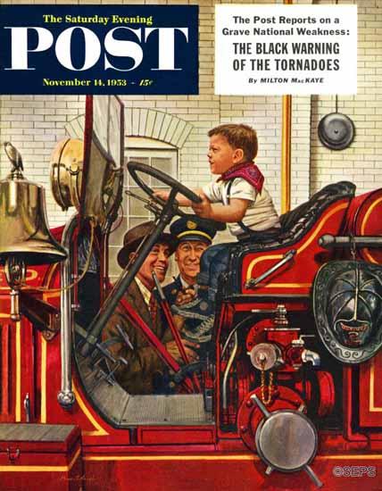 Stevan Dohanos Saturday Evening Post Boy on Fire Truck 1953_11_14 | The Saturday Evening Post Graphic Art Covers 1931-1969