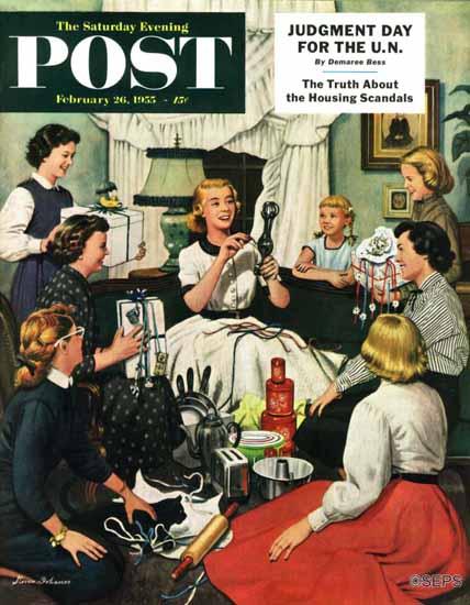 Stevan Dohanos Saturday Evening Post Bridal Shower 1955_02_26 | The Saturday Evening Post Graphic Art Covers 1931-1969
