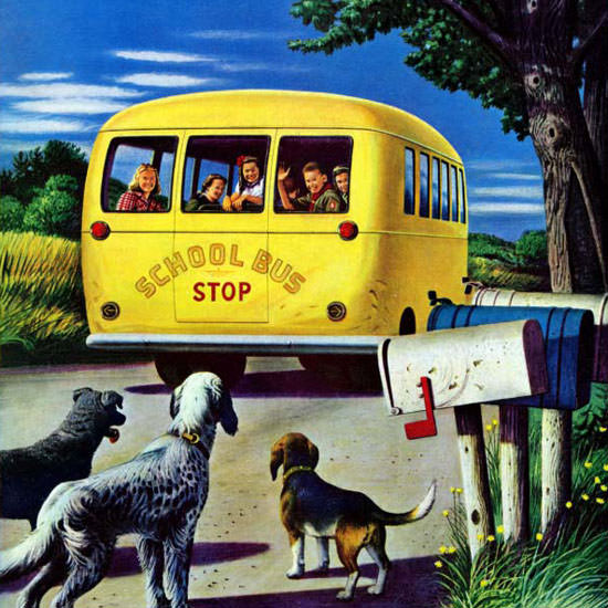 Stevan Dohanos Saturday Evening Post Bus 1944_09_02 Copyright crop | Best of Vintage Cover Art 1900-1970