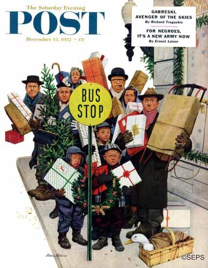 Stevan Dohanos Saturday Evening Post Bus Stop at Christmas 1952_12_13 | The Saturday Evening Post Graphic Art Covers 1931-1969