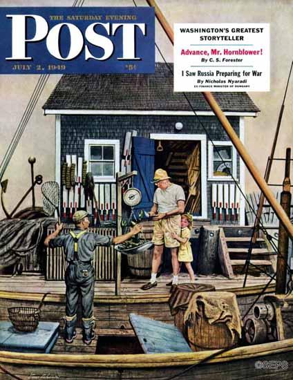 Stevan Dohanos Saturday Evening Post Buying Lobsters 1949_07_02 | The Saturday Evening Post Graphic Art Covers 1931-1969