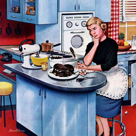 Stevan Dohanos Saturday Evening Post Cake 1955_05_21 Copyright crop | Best of Vintage Cover Art 1900-1970