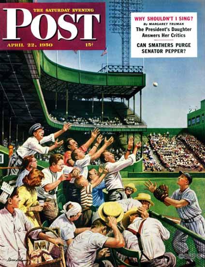 Stevan Dohanos Saturday Evening Post Catch Home Run Ball 1950_04_22 | The Saturday Evening Post Graphic Art Covers 1931-1969