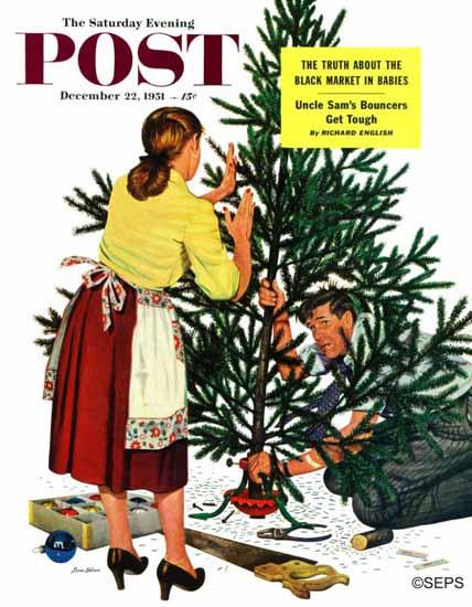 Stevan Dohanos Saturday Evening Post Centering Xmas Tree 1951_12_22 | The Saturday Evening Post Graphic Art Covers 1931-1969