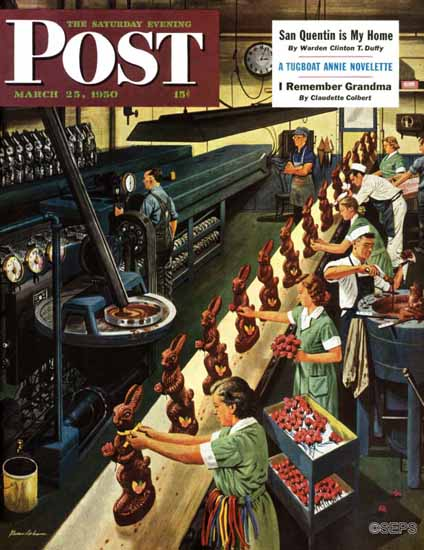 Stevan Dohanos Saturday Evening Post Chocolate Bunnies 1950_03_25 | The Saturday Evening Post Graphic Art Covers 1931-1969