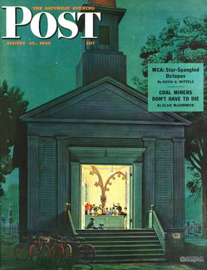 Stevan Dohanos Saturday Evening Post Choir Practice 1946_08_10 | The Saturday Evening Post Graphic Art Covers 1931-1969
