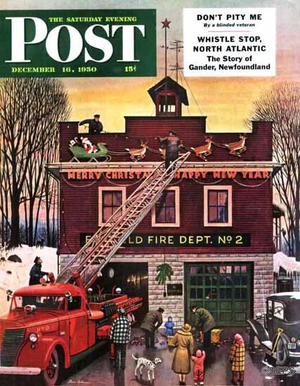 Stevan Dohanos Saturday Evening Post Christmas Fire Station 1950_12_16   The Saturday Evening Post Graphic Art Covers 1931-1969