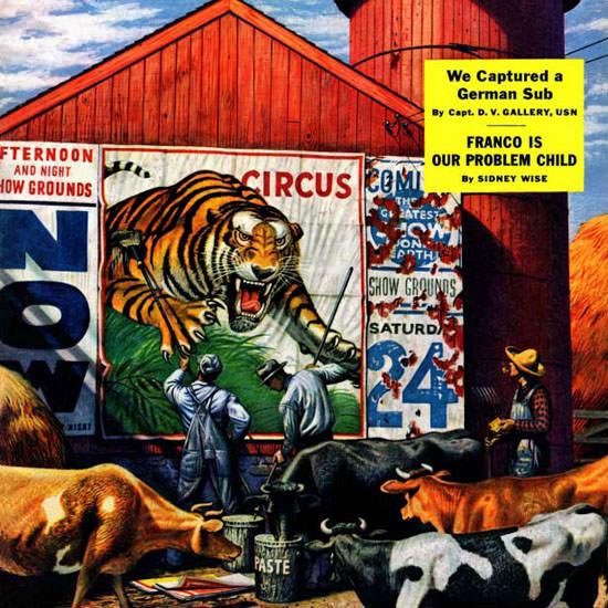 Stevan Dohanos Saturday Evening Post Circus 1945_08_04 Copyright crop | Best of Vintage Cover Art 1900-1970