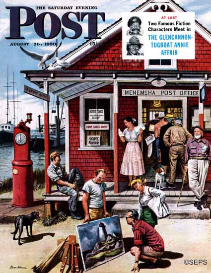 Stevan Dohanos Saturday Evening Post Coastal Postal Office 1950_08_26 | The Saturday Evening Post Graphic Art Covers 1931-1969
