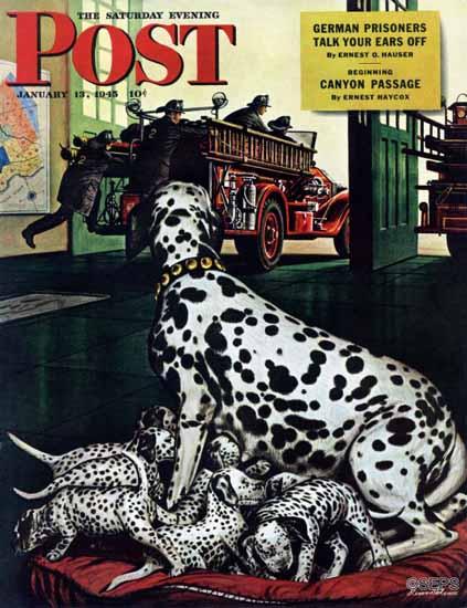 Stevan Dohanos Saturday Evening Post Dalmatian and Pups 1945_01_13 | The Saturday Evening Post Graphic Art Covers 1931-1969