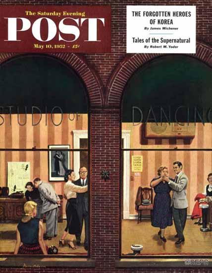 Stevan Dohanos Saturday Evening Post Dancing Class 1952_05_10 | The Saturday Evening Post Graphic Art Covers 1931-1969