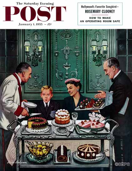 Stevan Dohanos Saturday Evening Post Dessert Cart 1955_01_01 | The Saturday Evening Post Graphic Art Covers 1931-1969