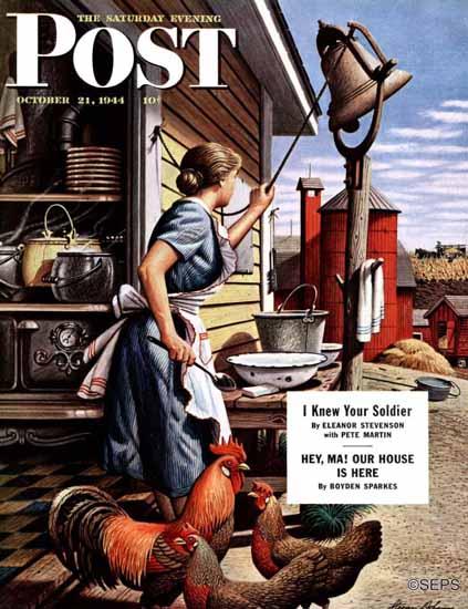 Stevan Dohanos Saturday Evening Post Dinner Bell 1944_10_21 | The Saturday Evening Post Graphic Art Covers 1931-1969