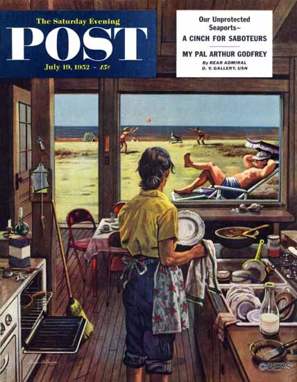 Stevan Dohanos Saturday Evening Post Doing Dishes at Beach 1952_07_19 | The Saturday Evening Post Graphic Art Covers 1931-1969