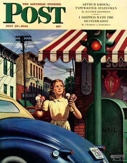 Stevan Dohanos Saturday Evening Post Dripping Cones 1944_07_29 | The Saturday Evening Post Graphic Art Covers 1931-1969