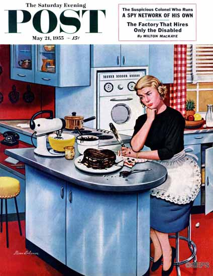 Stevan Dohanos Saturday Evening Post First Cake 1955_05_21   The Saturday Evening Post Graphic Art Covers 1931-1969
