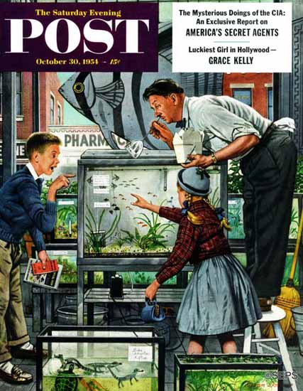Stevan Dohanos Saturday Evening Post Fish Aquarium 1954_10_30 | The Saturday Evening Post Graphic Art Covers 1931-1969