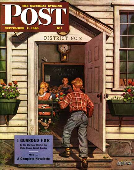 Stevan Dohanos Saturday Evening Post Flowers for Teacher 1946_09_07 | The Saturday Evening Post Graphic Art Covers 1931-1969